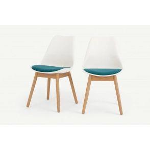 Lot de 2 chaises, bois blanc et tissu bleu