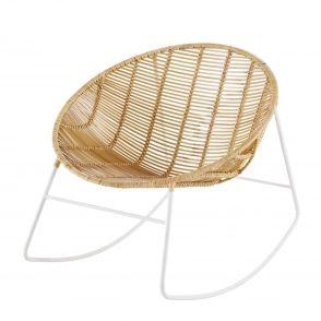 Rocking chair rond en rotin et métal blanc