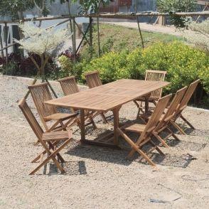 Salon de jardin extensible en teck huilé 8/10 places bali