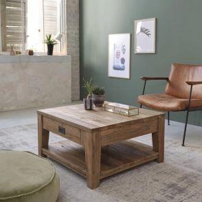 Table basse en bois de teck recyclé 80 cargo