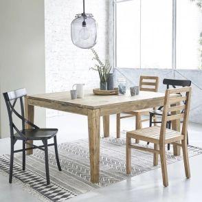 Table extensible en bois de teck recyclé carrée 12 personnes cargo