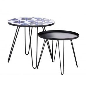 Tables basse de jardin en faïence à motifs et métal noir