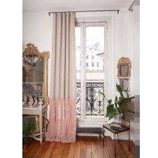 Rideau en velours de soie et lin 140×300 cm poudre
