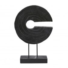 Statue disque sur socle en paulownia noir H43