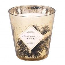 Bougie parfumée en verre doré imprimé palmier noir