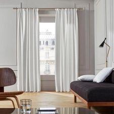 Rideau à ruban fronceur 145×280 cm Blanc