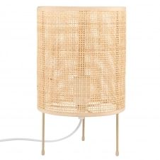 Lampe cannage en bambou et métal doré