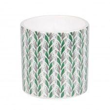 Bougie parfumée en céramique blanche motifs verts