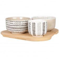 Coupelles apéritives en grès gris, noir et blanc (x3) et plateau en bambou