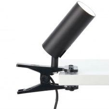 Spot à pince LED orientable avec interrupteur métal noir