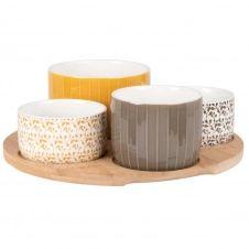 Coupelles apéritives en grès gris, blanc et jaune (x4) et plateau en bambou