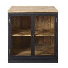 Meuble bas de cuisine en manguier massif gris ardoise 2 portes vitrées Cezanne