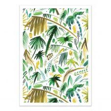BRUSHSTROKES PALMS GREEN –   Affiche d'art 50 x 70 cm