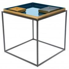 Table d'appoint carré couleur bleu et orange l45cm