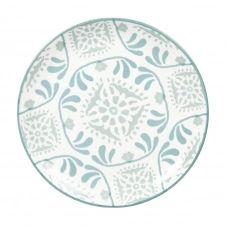 Assiette à dessert en grès blanc à motifs bleus et gris