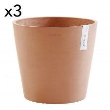 Lot de 3 pots de fleurs terracotta D30
