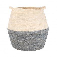 Panier en fibre de maïs coloris naturel, bleu et gris