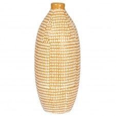 Vase en grès jaune gravures blanches H29