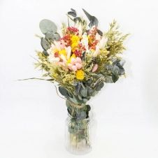 Bouquet de fleurs séchées rose et jaune