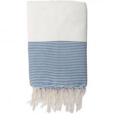 Fouta coton nid d'abeille 100×200 Blanc et bleu grec