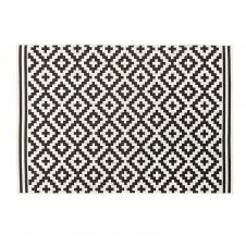 Tapis d'extérieur en polypropylène tissé motifs graphiques noirs et blancs 120×180