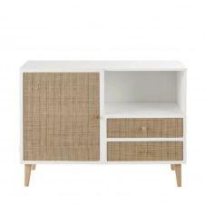 Cabinet de rangement 1 porte 2 tiroirs avec cannage en rotin Ysée