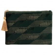Pochette en velours vert motifs géométriques