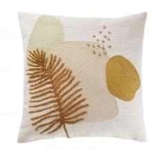 Coussin en coton brodé blanc, rose, vert et jaune 45×45