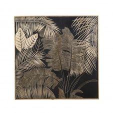 Déco murale en manguier gravé 119×119