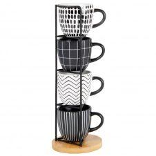 Tasses en grès noir et blanc motifs graphiques (x4) support en métal noir