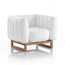 Fauteuil pvc blanc opaque cadre bois