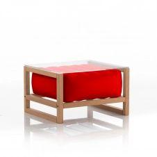 Table basse pvc rouge cadre en bois