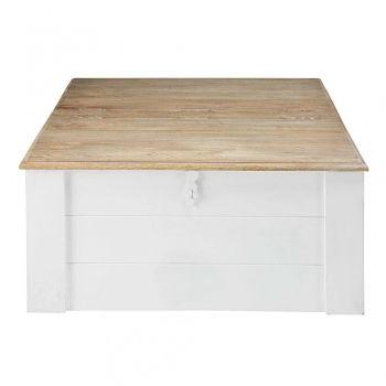 Achat Table Basse Coffre En Manguier Massif Blanc Figuerolles Style Scandinave