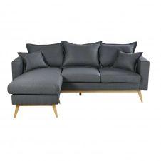 Canapé d'angle modulable style scandinave 4/5 places gris ardoise Duke