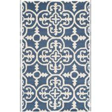Tapis de salon géométrique bleu marine et ivoire 91×152