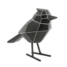 Statue origami bird stripes noir H18cm