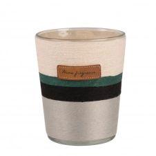 Bougie parfumée en verre et corde noire, verte et écrue