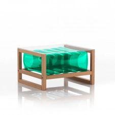 Table basse pvc verte cadre en bois