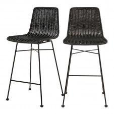 Chaise de bar mi-hauteur 63 cm en résine tressée noire (x2)