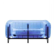 Canapé cadre aluminium assise thermoplastique bleu crystal