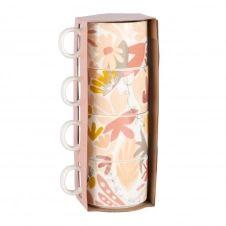 Tasses en faïence blanche, rose et jaune motif floral (x4)
