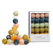 Guirlande lumineuse 20 boules bleu et vert