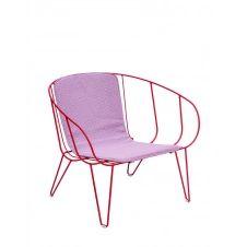 OLIVO – Fauteuil lounge avec coussin en acier rouge