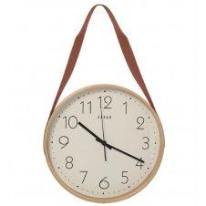 Horloge suspendue en bois lanière similicuir marron D32