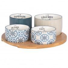 Plateau apéritif en bambou 4 bols en faïence bleue, beige et blanche à motifs