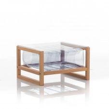Table basse pvc transparente cadre en bois