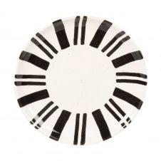 Assiette à dessert en grès blanc motifs noirs