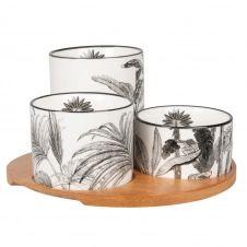 Coupelles apéritives en porcelaine blanche et noire (x3) et plateau en acacia
