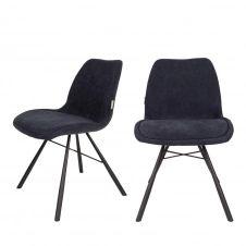 2 chaises tissu bleu marine
