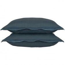 Taie d'oreiller en lin lavé 50×70 Bleu de Prusse